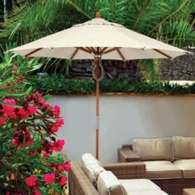 9 Foot Wood Market Patio Umbrella